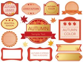 A set of assorted labels in autumn colors.  vector