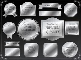 A set of assorted silver labels.