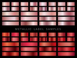 A set of assorted metallic label samples. vector