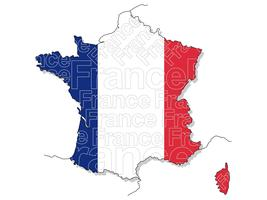 A map of France.  vector