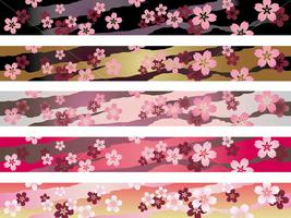 A set of a seamless Japanese traditional pattern in five colors. vector