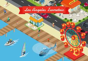 Isometrisk Los Angeles Bakgrunds Illustration