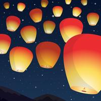 Sky Lantern Festival In The Night Vector Illustration