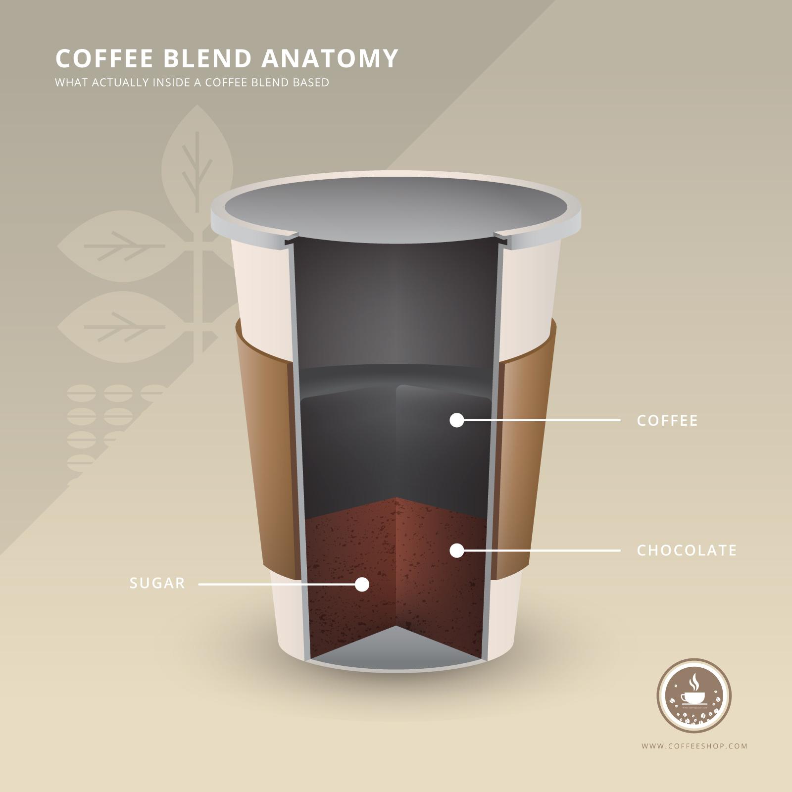 Coffee Shop Logo with Coffee Anatomy Ingredients Realistic ...