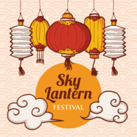 Sky Lantern Festival Illustration