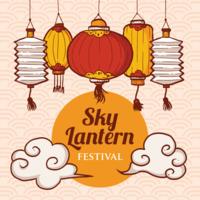 Sky Lantern Festival Illustration