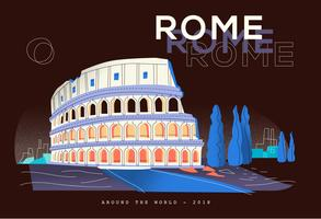 Postal del Coliseo en Roma Landmark Vector Flat Illustration