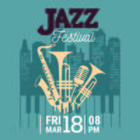 Poster for the Jazz Festival with Saxophone, Wind Instruments and a Microphone vector