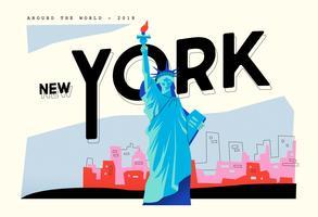 Postcard Liberty Landmark In New York Vector Flat Illustration