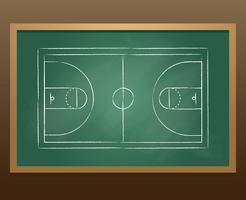 Basket Court Sketch Chalkboard Vector
