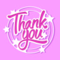 Thank You Signature Cut from Paper with Stars Background