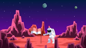 Indonesian Astronaut Explore To Mars Vector
