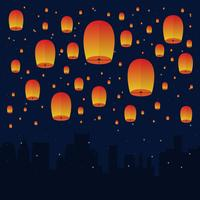 Sky Lantern In The Night Sky Illustration