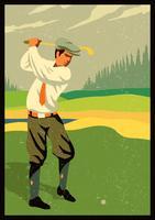 golf vintage retro vector