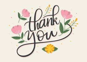 Hand Lettering Thank You Flowery Vector