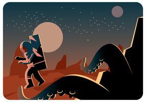 Astronauta y un monstruo en el vector de Marte