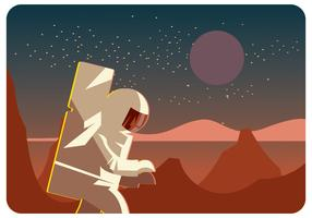 Astronauta explorando el planeta Marte Vector