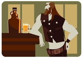 Motorcycle Man en Beer Growler Vector