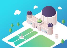Isometric Griffith Observatory Illustration