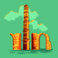 Vektor illustration av Qutub Minar i Delhi med Vintage eller Retro Style