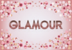 Beautiful Glamour Fashion Typography Metallic Rosegold text with Bokeh and Sparkling Bright Background vector