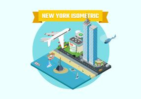 Isometric New York City Background Illustration