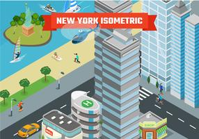 Isometric New York City bakgrunds illustration