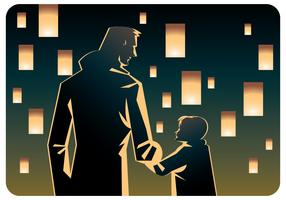 Papà e bambina al vettore di festival di lanterna del cielo