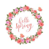 Floral Spring Wreath Vector