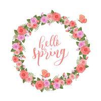 Floral Spring Wreath Vector