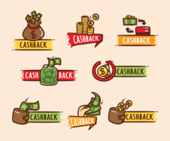 Cash Back Labels  vector