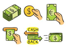 Dibujado a mano Cash Back Element Vector