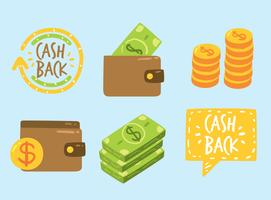 Cash Back Element On Blue Vector