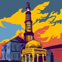 Famous Indian Architecture Qutub Minar Illustration