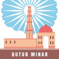 Indian Architecture Qutub Minar Illustration