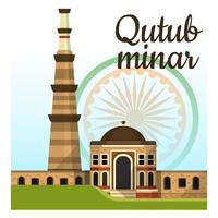 Qutub Minar Inde Landmark Vector Illustration