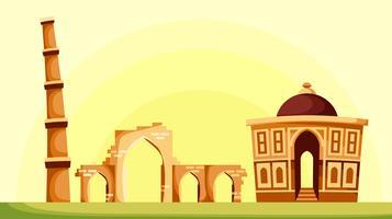 Landscape Of Qutub Minar Vector