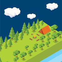 Low Poly Forest Camping Vector
