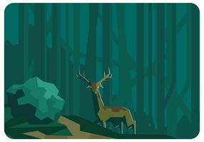 Low Poly Forest and Deer Vector