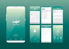 Vetor de agente de viagens on-line de aplicativo móvel gui