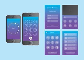 Insieme di vettore di Gui app mobile