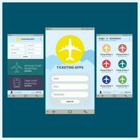 Ticketing Mobile Apps GUI Illustratie