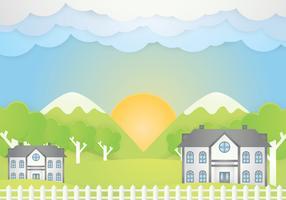 Paper art landscape vector