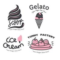 Ice Cream Logo Set Vector