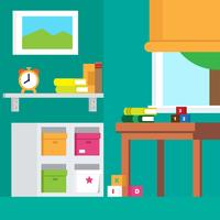 Kids Room Interior Vector Illustration