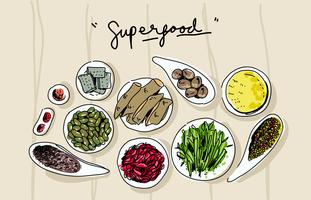 Super Foods op Bowl Top View Hand getrokken vectorillustratie