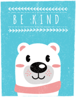 Scandinavian Style Bear Wall Art - Be Kind