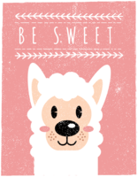 Scandinavische stijl Alpaca Wall Art - Be Sweet vector