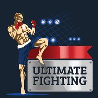 Kraftfull aggressiv boxare visar sina muskler på Ultimate Fighting