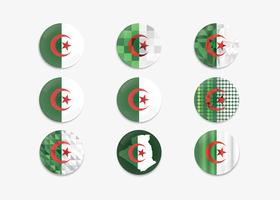 Button Pin Algeria Flag Vector